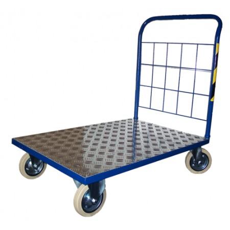 Wózek o platformie z aluminium (80 x 50 cm), transportowy, magazynowy, ROMEK H-1 Krajowy Wózki platformowe - 4store.pl