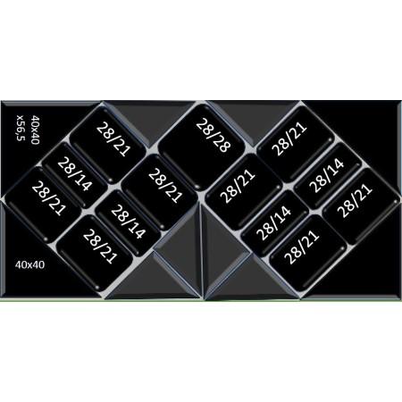 Podwójny komplet na sałatki z pojemnikami trójkątnymi, 80x160 cm, 23 pojemniki z plexi, głębokość 5 cm, Dupont, Plexiline Dupont