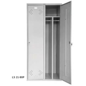 Podwójna, dwudzielna szafa socjalna, metalowa, ubraniowa, BHP, SUS 420, LS 21-80P
