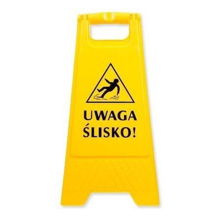 Znak ostrzegawczy informujący o śliskiej podłodze, stojący Krajowy Higiena w sklepie - 4store.pl