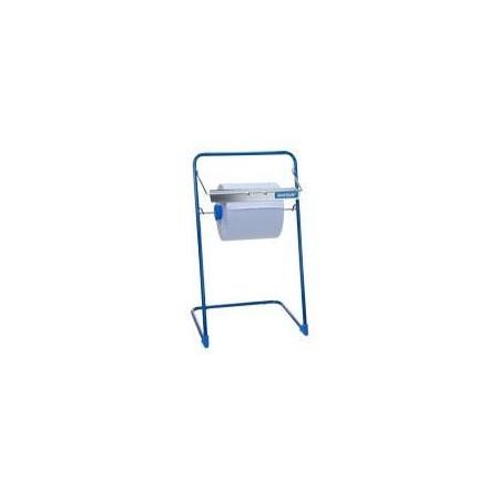 Podłogowy lub ścienny stojak na czyściwa papierowe z gilotyną, metalowy, kolor niebieski, maksymalna szerokość czyściwa 40 cm Kr