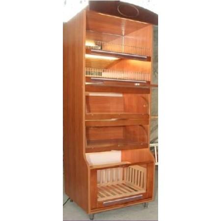Regał na pieczywo słodkie (1 kosz, 2 półki z drewna bukowego, 2 szuflady z szybą) z podświetleniem led, wys. 225cm Krajowy Regał