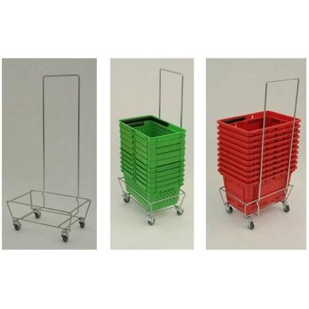 Wózek na kółkach pod koszyki, z rączką (uchwytem), cynk galwaniczny Damix Wózki na koszyki - 4store.pl