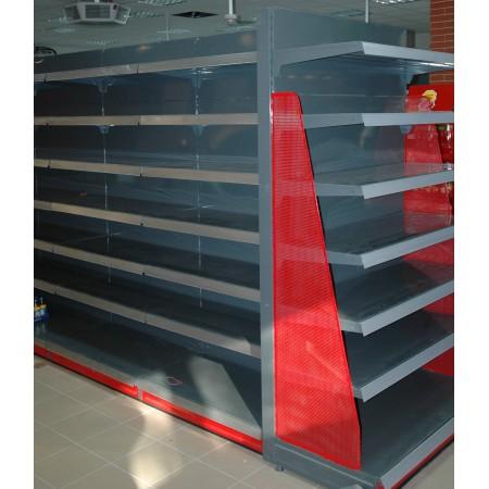 Regał  metalowy dwustronny, gondola (pełne półki i plecy) - używane AP Krajowy Regały dwustronne (gondole) - 4store.pl