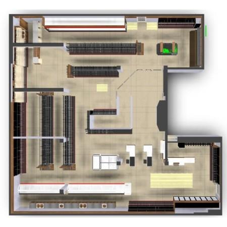 Projekt, plan sklepu, ustawienie mebli na sali sprzedaży, layout Krajowy Projekt Sali sprzedaży - 4store.pl