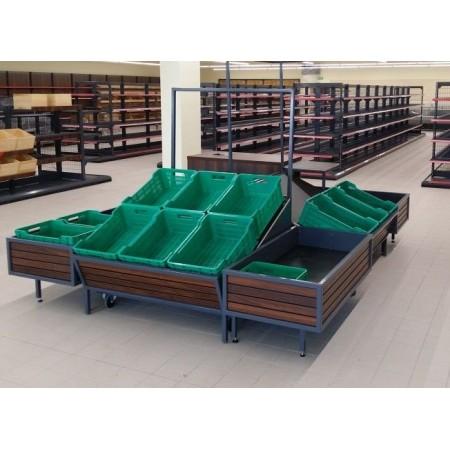 Wyspa na owoce i warzywa (3 szt.120x120 cm, 3 szt. 120x60 cm, szafka na odpady, półka na wagę VK Van Keulen Wyspy na owoce i war