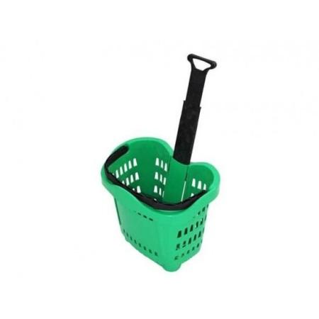 Koszyk sklepowy 43 litry na kółkach, z wysuwaną teleskopową rączką Krajowy Koszyki ręczne i na kółkach - 4store.pl