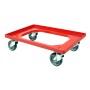 Wózek transportowy na skrzynki z owocami i warzywami 61,5 x 41,5 cm, wys 17 cm, czerwony Krajowy Skrzynki z tworzywa - 4store.pl