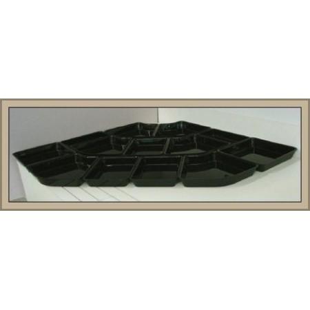 """Komplet pojemników """"System 28"""" 84x84cm, gł. 5cm, 13 szt. pojemniki z czarnej pleksi producent: Dupont Dupont Pojemniki z plexi -"""