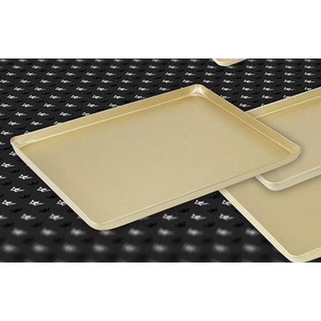 Taca na ciasta 48x32cm, 4 ranty (1 lub 2 cm), kolor złoty lub szampana, tłoczona, aluminiowa, cukiernicza. Kra01 Tace na ciasta