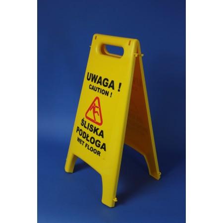 Znak, stojak ostrzegawczy informujący o śliskiej podłodze, żółty, z nadrukiem, 2-stronny Krajowy Higiena w sklepie - 4store.pl