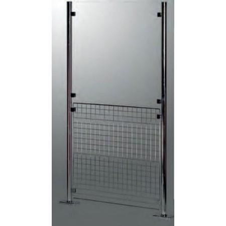Krata druciana  chromowana 950x950 mm do słupka/stojaka wygrodzenia, system prowadzenia klienta Damix Bramki, barierki - 4store.