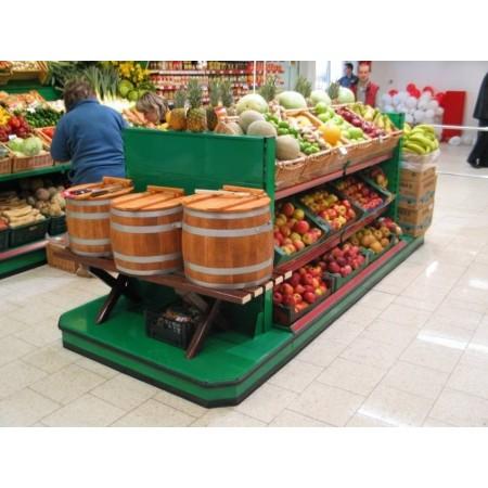 Wyspa na owoce i warzywa na bazie regału typu gondola VK 2m + końcówka promocyjna + stolik pod wagę eformula.pl Wyspy na owoce i