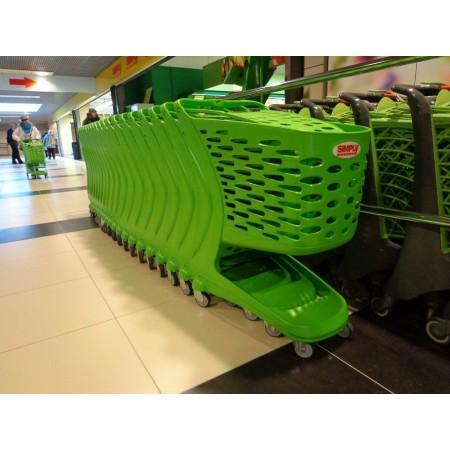 Wózek sklepowy z tworzywa  80 litrów Mini Basic z kółkami fi 100 mm, Rabtrolley Rabtrolley Wózki z tworzywa - 4store.pl