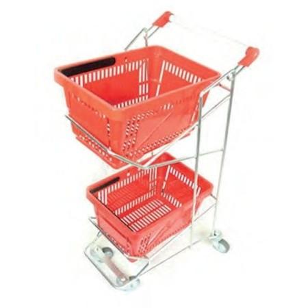 Wózek na/pod dwa koszyki, dwupoziomowy (pasuje do koszyków 20 i 25 litrów), cynk galwaniczny Damix Wózki na koszyki - 4store.pl