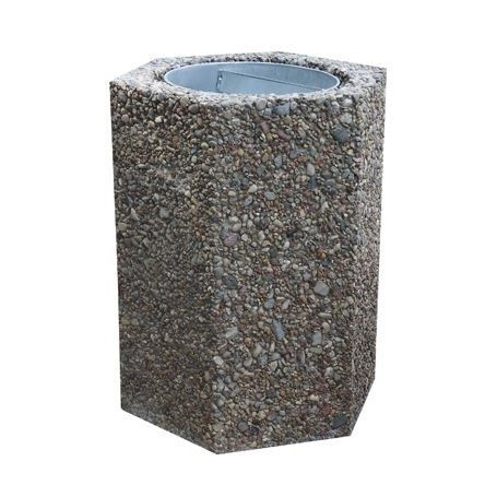 Kosz betonowy wolno-stojący 40 l sześciokątny Krajowy Kosze na śmieci - 4store.pl