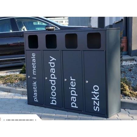 Kosz do segregacji odpadów Etna IV 40 l, stal ocynkowana malowana Krajowy Kosze do segregacji odpadów - 4store.pl